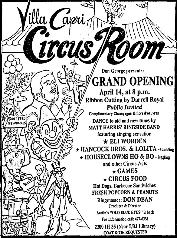 Sonobeat and don dean the april 14 1978 grand opening ad appearing in the austin american statesman newspaper for austins villa capri hotels circus room where don dean malvernweather Images